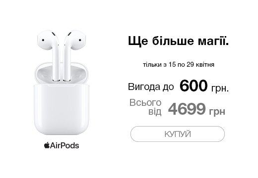 Навушники AirPods with Charging Case (MV7N2RU/A) 2019 за суперціною