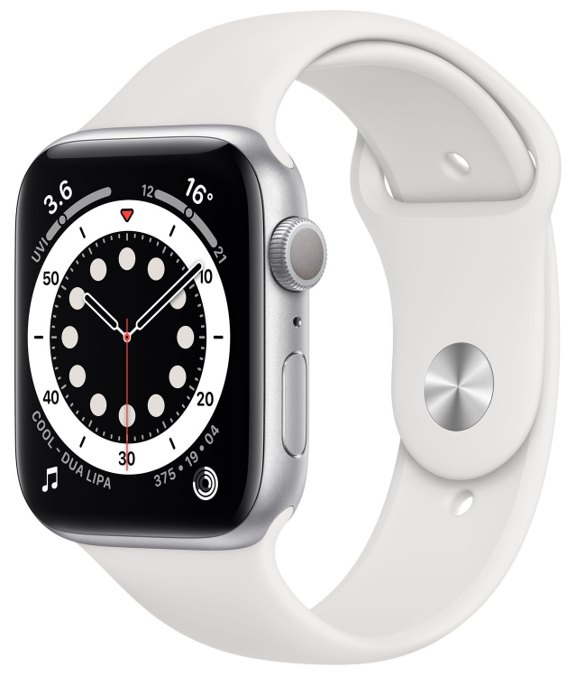 Apple Watch 6 Silver Aluminium Case with White Sport Band Regular