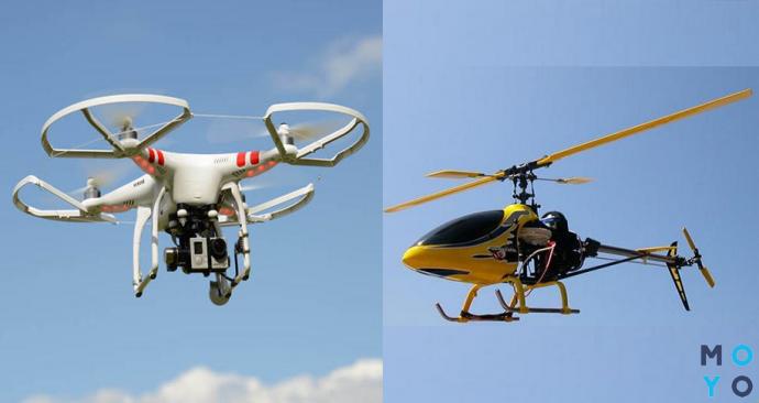 Квадрокоптер и радиоуправляемый вертолет в воздухе