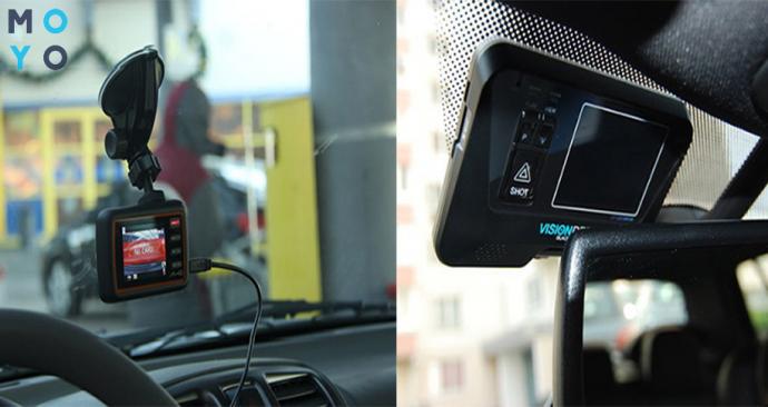 Автомобильные видеорегистраторы на стекле авто
