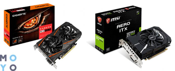Игровые видеокарты NVidia GeForce GTX 1050 и AMD Radeon RX 560