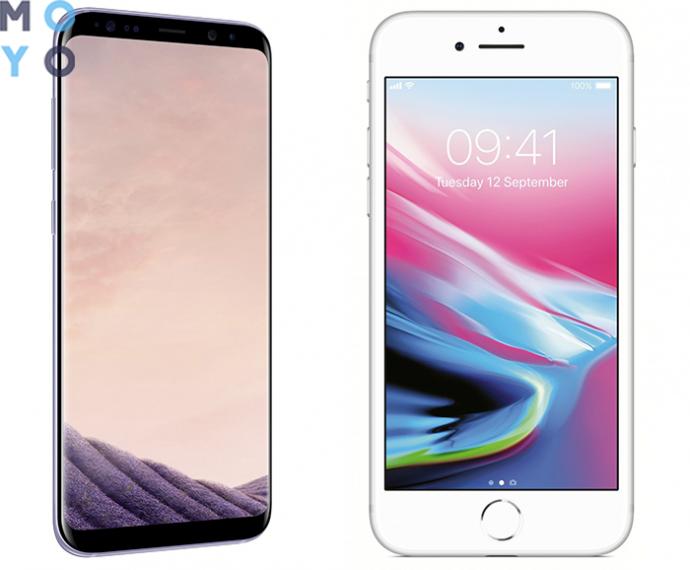 Samsung Galaxy S8 и Apple iPhone 8 (Silver)