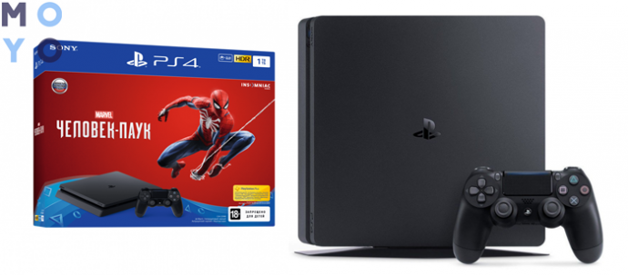 PlayStation 4 Slim 1Tb Black + Spider-Man