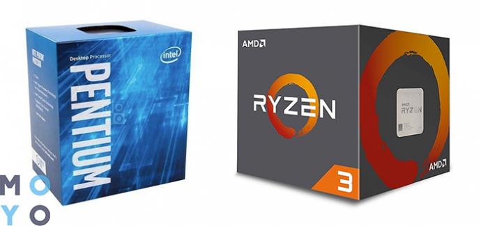 процессоры INTEL Pentium G4560 3.5 GHz и AMD Ryzen 3 1200 3.1GHz