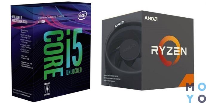 процессоры для игрового ПК среднего уровня Intel Core i5-8600K 3.6GHz и AMD Ryzen 5 1600 3.2GHz