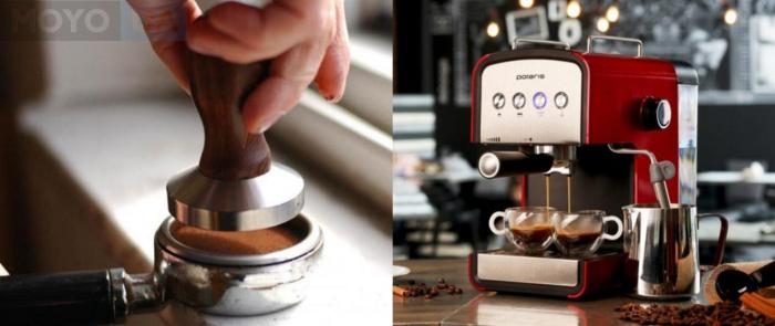 Рожковая кофеварка и процесс утрамбовки кофе в холдер