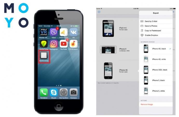 Скриншот на iPhone через программу Screenshot – Frame Maker