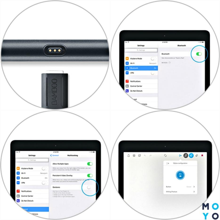 Подключение стилуса к графическому планшету