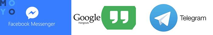 Facebook Messenger, Telegram, Google Hangouts