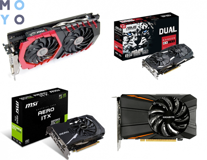 примеры хороших видеокарт (MSI GTX 1060 6GB, ASUS Radeon RX 580 8GB, MSI GTX 1060 3GB, GIGABYTE GTX 1050 Ti 4GB)