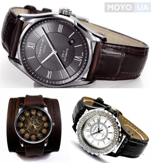 Наручные часы с кожаным ремешком