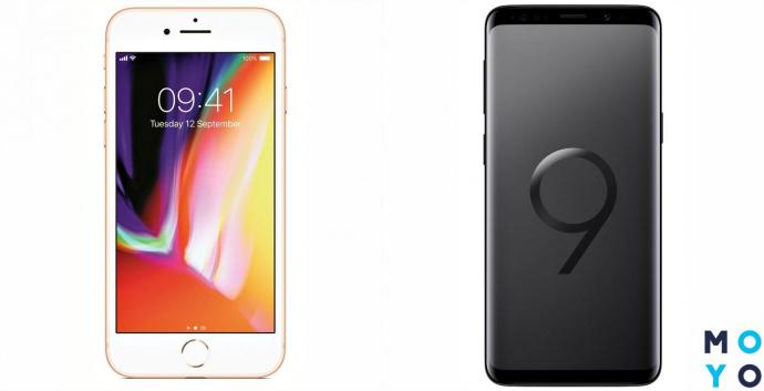 Экраны Samsung Galaxy S9 и Apple iPhone 8 Plus