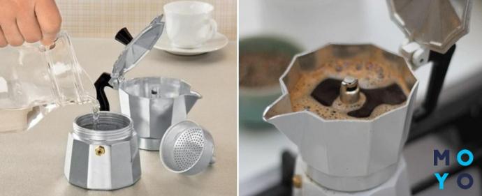 Принцип действия гейзерной кофеварки