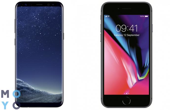 Смартфоны Galaxy S8 и iPhone 8