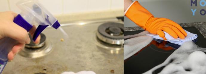 чистка плиты из нержавеющей стали