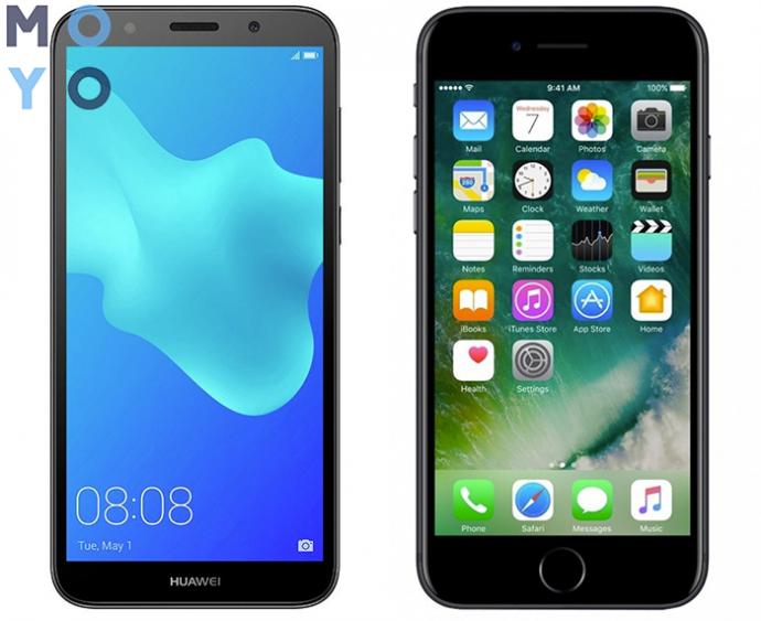 смартфоны с 2 ГБ ОЗУ Huawei Y5 2018 и iPhone 7