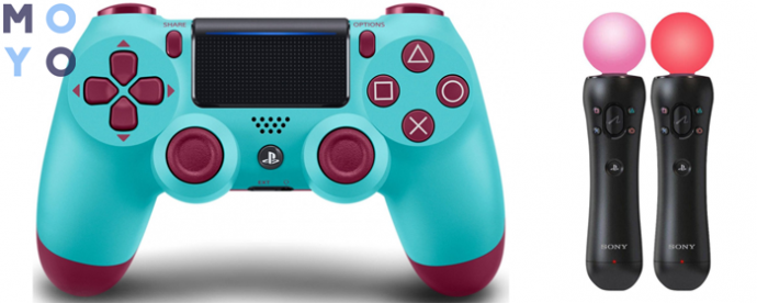 Беспроводной геймпад SONY Dualshock v2 Berry Blue для PS4 и контроллер движений PS Move