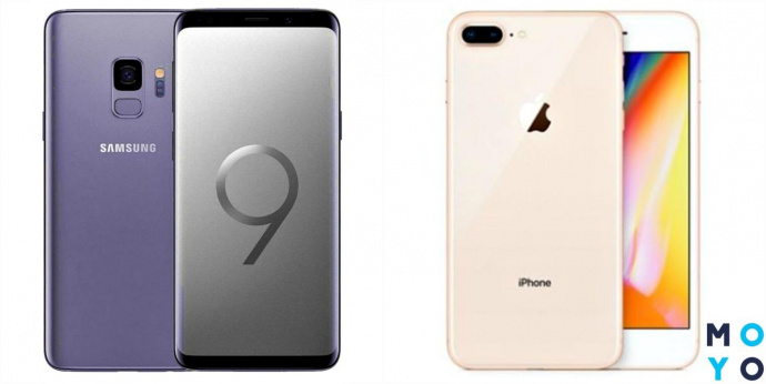Смартфоны Samsung Galaxy S9 и Apple iPhone 8 Plus
