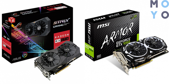 крутые видеокарты ASUS Radeon RX 570 4GB DDR5 Gaming OC и MSI GeForce GTX 1060 6GB GDDR5 Armor OCV1