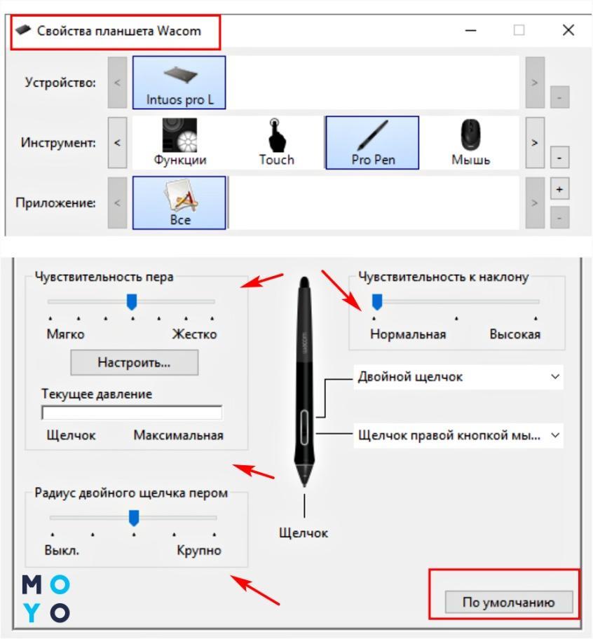 Как настроить перо на графическом планшете