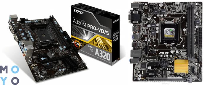 материнские платы для начального игрового ПК MSI A320M PRO-VD/S и ASUS H110M-R/C/SI/White-Box