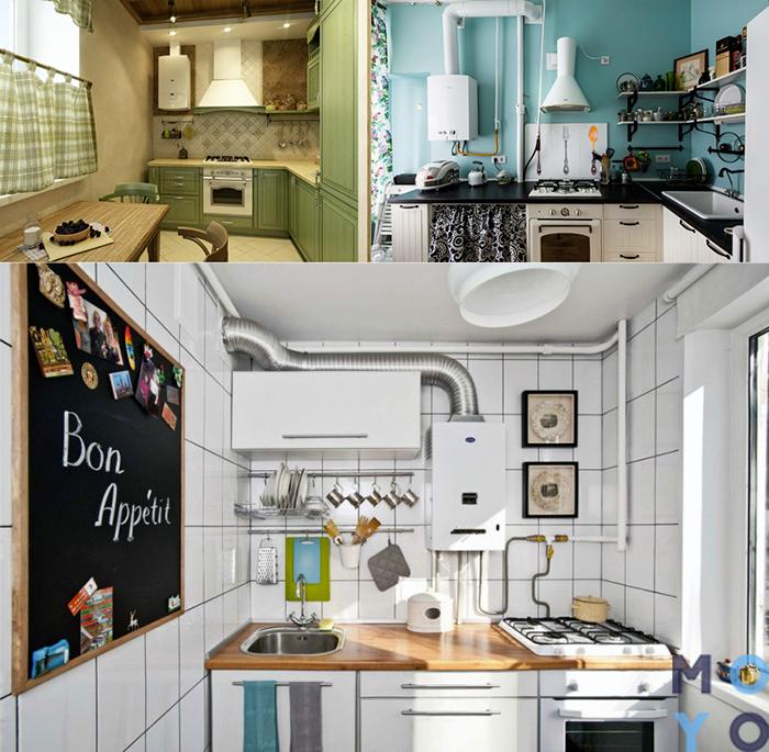 Замаскировать колонку дизайном кухни