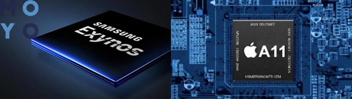 процессоры Samsung Galaxy S9 и Apple iPhone X