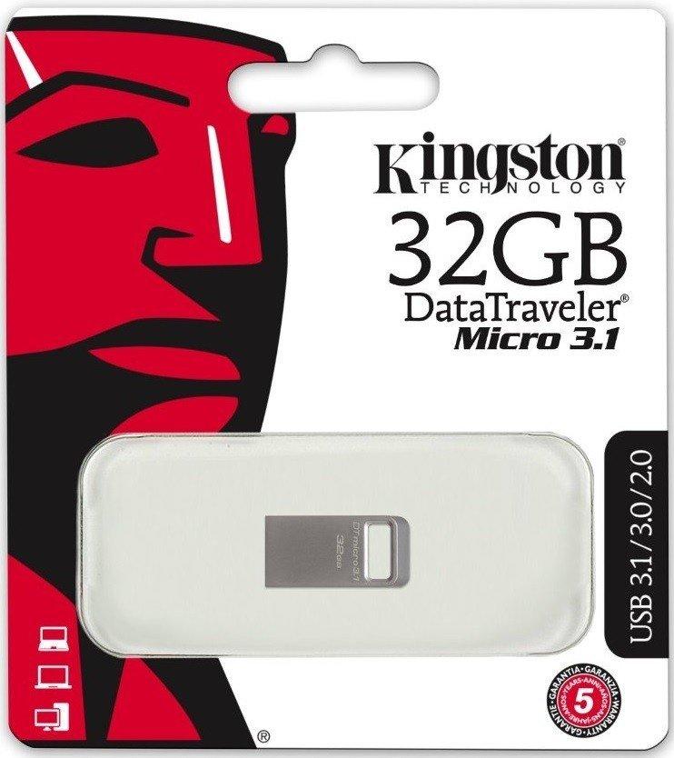 Накопичувач USB 3.1 KINGSTON DT Micro 32GB Metal Silver (DTMC3/32GB) фото3