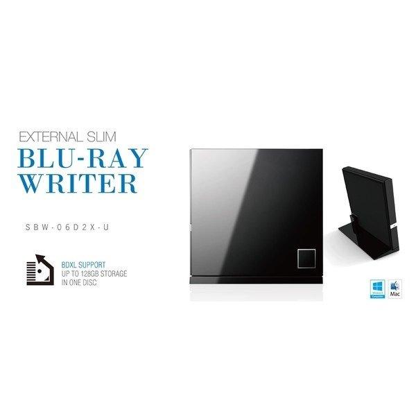 Зовнішній оптичний привід ASUS SBC-06D2X-U Blu-ray Combo Drive USB2.0 EXT Ret Slim Blackфото3