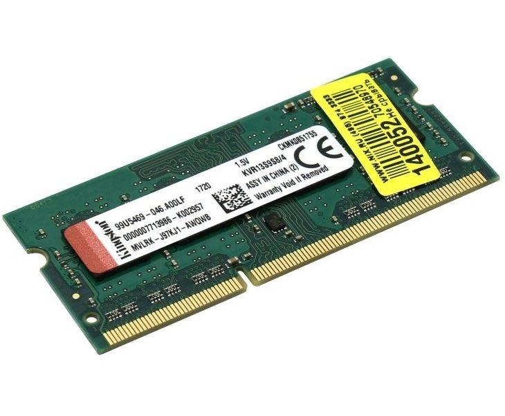 Пам'ять для ноутбука Kingston DDR3 1 333 4GB 1.5V (KVR13S9S8/4)фото2