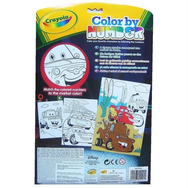 Книга-раскраска Crayola по номерам с фломастерами Тачки ...