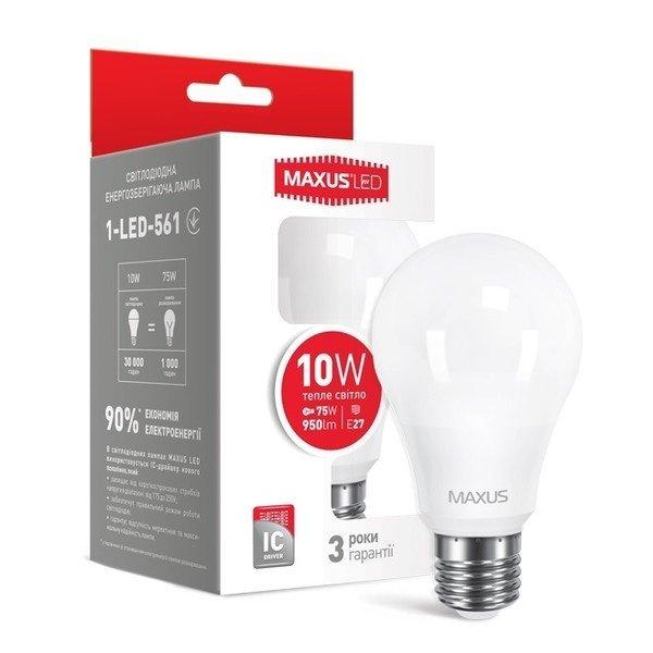 Світлодіодна лампа MAXUS A60 10W 3000K 220V E27 (1-LED-561)фото