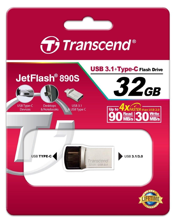 Накопичувач USB 3.1 TRANSCEND Type-C 890 32GB (TS32GJF890S) фото
