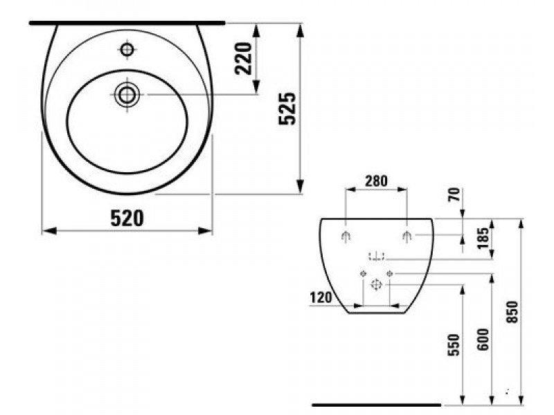 Умывальник ARTEL PLAST 52,5х52 см фото