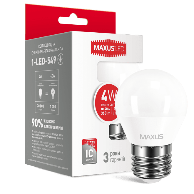 Светодиодная лампа MAXUS G45 F 4W мягкий свет 220V E27 (1-LED-549) фото 2