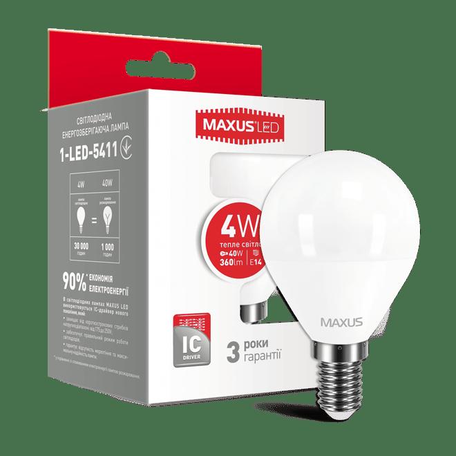 Светодиодная лампа MAXUS G45 F 4W мягкий свет 220V E14 (1-LED-5411) фото 2
