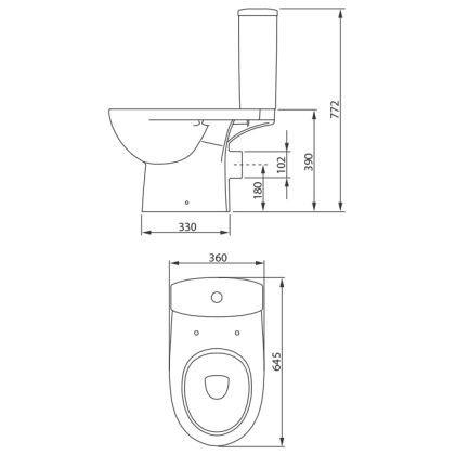 Унитаз-компакт COLOMBO Статус S23962500 (с сиденьем дюропласт) фото 2