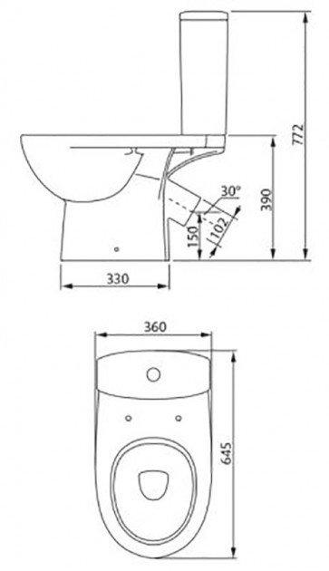 Унитаз-компакт COLOMBO Статус S23960500 (с сиденьем дюропласт) фото 2