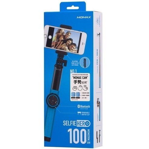 Монопод для смартфона MOMAX Hero Bluetooth Selfie Pod 100cm Blue / Black (KMS7D)фото3