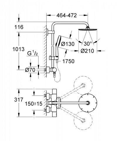 Душевой гарнитур GROHE Rainshower System 210 27967000 фото 5