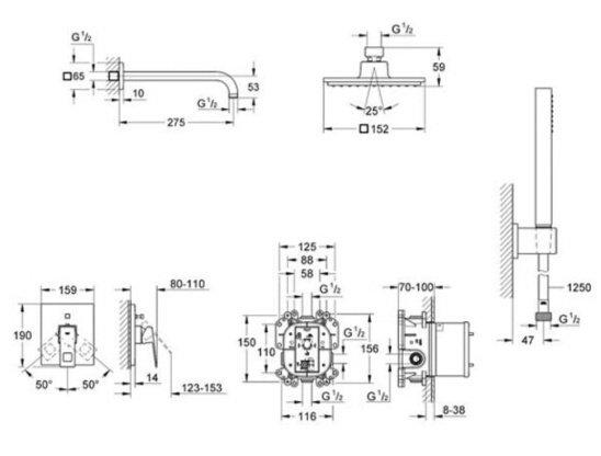 Душовий гарнітур GROHE Eurocube 23409000фото3