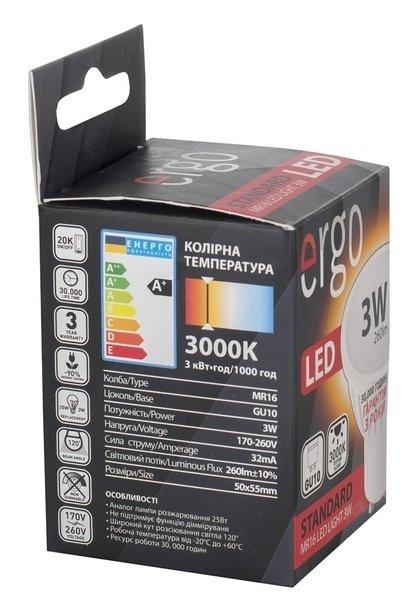 Светодиодная лампа ERGO Standard MR16 GU10 3W 220V 3000K (LSTGU103AWFN) фото 3
