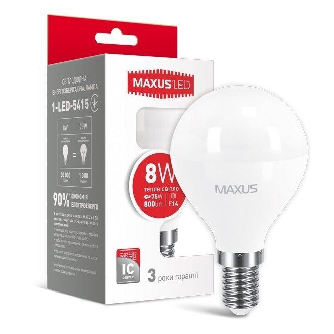 Светодиодная лампа MAXUS G45 F 8W 3000K 220V E14 (1-LED-5415) фото 2