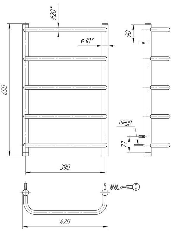 Сушарка для рушників Mario Стандарт НР-І 650х430/150 електрична фото
