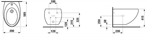 Біде підвісне Laufen IL BAGNO ALESSI One c покриттям LCC (H8309714003041)фото2