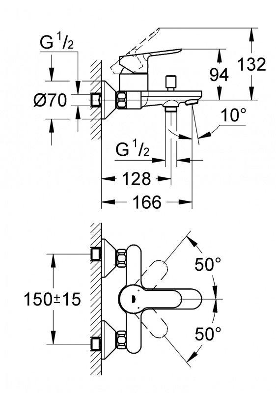 Набор смесителей GROHE BauEdge 123265S (23330000 + 32820000 + 27598000) фото 4
