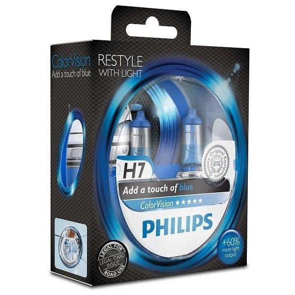 Лампа галогенная Philips H7 ColorVision Blue, 3350K, 2шт/блистер фото 3