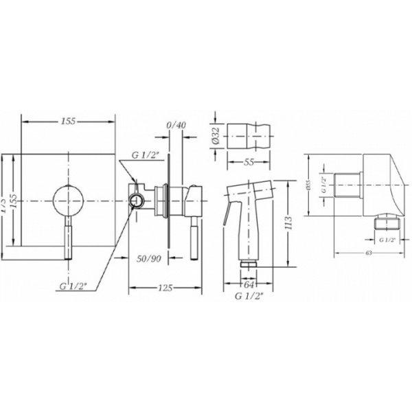 Комплект для гигиенического душа GENEBRE Tau (TAU45ov) фото 2
