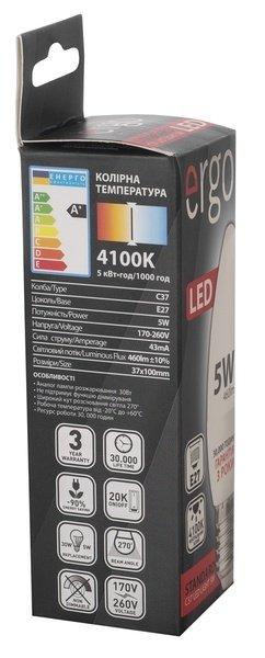 Светодиодная лампа ERGO Standard C37 E27 6W 220V 4100K (LSTC37E276ANFN) фото 3