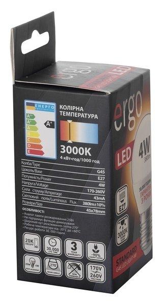Світлодіодна лампа ERGO Standard G45 E27 4W 220V 3000K (LSTG45E274AWFN) фото3